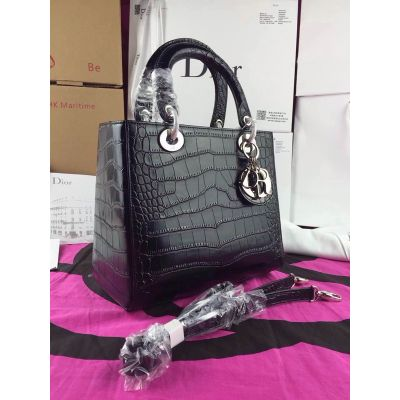 "High End Dior Top Handle Silver Hardware ""Lady Dior"" Black Leather Totes Bag Narrow Strap"