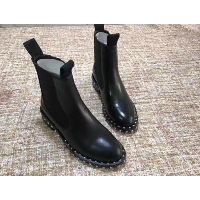 In Valentino Black Calfskin Leather Womens Slip-On Winter Flat Studs Boots Round Toe Martin Booties