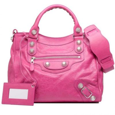 Top Sale Balenciaga Cyclamen Leather Ladies Gaint 21 Silver Studs Top Handle Velo Totes UK