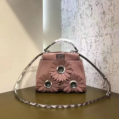 New Fendi Peekaboo  Micro Bag Embossed Daisy Flower Pink Calfskin Leather Removable Shoulder Strap Replica