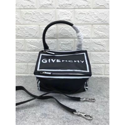 New Style Givenchy Small Pandora In Black Calfskin Leather White Printed GIVENCHY Signature Zippered Closure Adjustable Strap