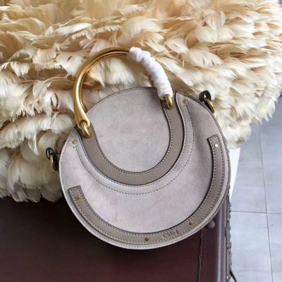 New Style Replica Chloe Small Nile Bracelet Gold Handles Motty Suede&Calfskin Leather Bag Cheapest Price CHC17US301HEU23W