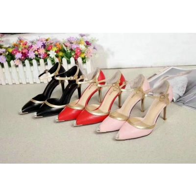 Trendy Dior Red/ Pink/ Black 9CM High-heeled Spangle Cowhide Leather Insole Buckle Clasp Shoes Summer