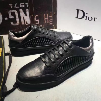 Men's Dior Lace Up Closure Black Polished Pattern Calfskin Leather Upper Rubber Sole Leisure Style