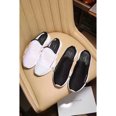 Balenciaga Fake Slip-on White/Black Breathable Neat Stitching Loafers Light Weight Summer New Style