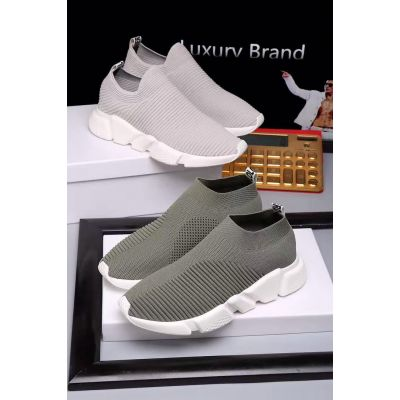 2017 Balenciaga Knit Slip-on Light Grey/Dark Grey Soft Sole Neat Clear Stitching Loafers For Couples