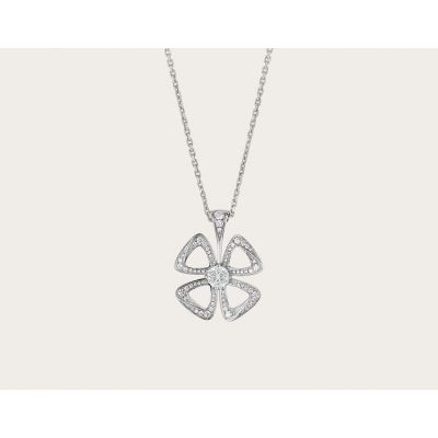 Good Price Bvlgari Fiorever Females Paved Diamonds Clover Openwork Necklace Silver/Rose Gold 354469 CL858161/356223 CL858713