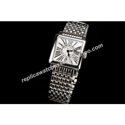 Franck Muller 6000 H SC CODR Master Square Women Special All White Gold Counterfeit 43mm Watch FM005