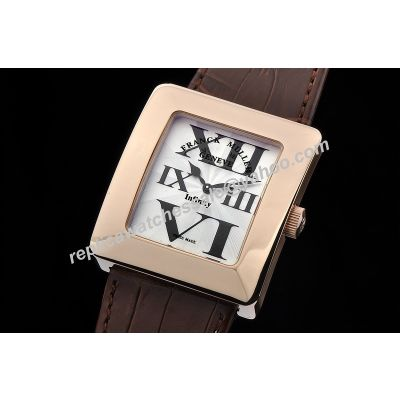 Rep Franck Muller Infinity Reka Ref 3735 QZ 35mm White Brown Leather Strap Watch