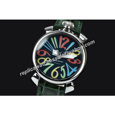 Gaga Milano Manuale Lady 40MM Acciaio  Ref. 5020.12 18k Silver Case Colorful Markers Watch