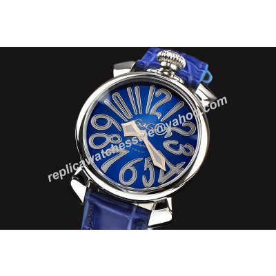 Gaga Milano Manuale 40mm Ladise Blue Face White Gold Leather Strap Watch