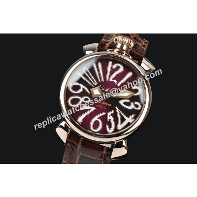 Gaga Milano Manuale Lady  48mm Rose Gold Case Brown Leather Quartz Watch