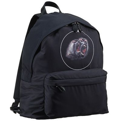 2017 Hot Selling Givenchy Printed Two Orangutan Pattern Single Top Handle Black Canvas Backpack