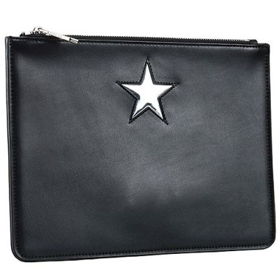 Most Popular Givenchy Popular Printed Star Pattern Black Leather Pouch Bag For Women