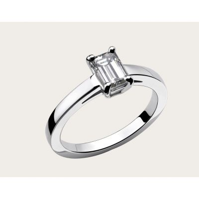 Superior Quality Bvlgari Griffe Solitaire Platinum Emerald Cut Diamonds Wedding Ring Imitation Good Comments AN853572