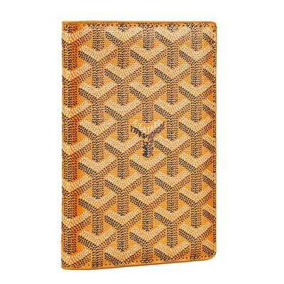 Flawless Goyard St Pierre Yellow Leather Passport Cover For Women Online Store