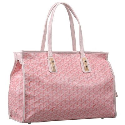 Goyard Marquises Women's Tote Bag Pink Brass Tab Trim Patterned Chevron Calfskin Leather Replica