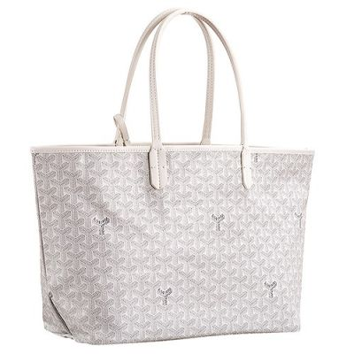 Quality Goyard Saint Louis Tote Bag Leather White Chevron Embossed For Girls Shop Online