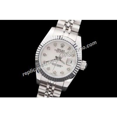 Swiss Auto Movement Rolex Datejust Oyster Lady Diamond White Dial Watch