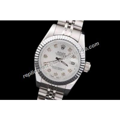 Rolex ladies Swiss Movement Datejust Diamond White Dial Watch