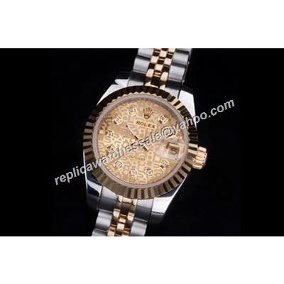 Rolex Datejust Diamond Markers Anniversary Pattern Face 116233 Ladies Gold Watch