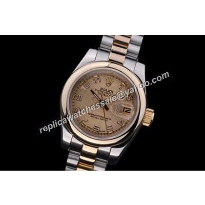 Rolex Datejust ladies 18k Steel Gold Face & Smooth Bezel Watch