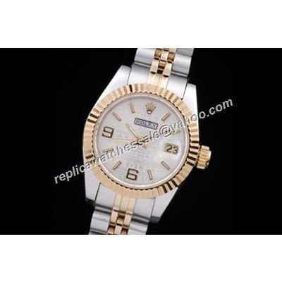 Oyster Rolex Lady Datejust 26mm White Face Automatic Movement Watch