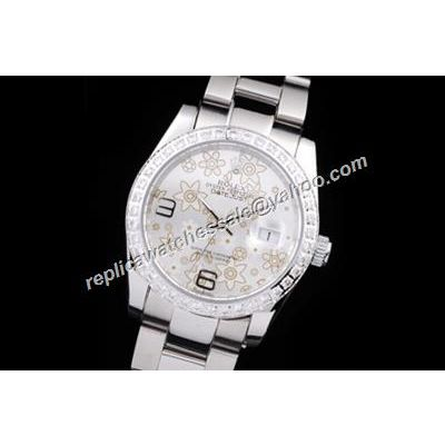 Rolex Datejust Prix Floral Motif ladies 36mm Silver Pearlmaster Watch