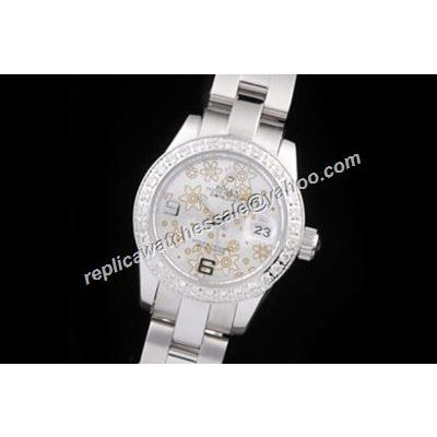 Rolex Datejust Pearlmaster 116200 Floral Motif Face Ladies White Diamond Watch