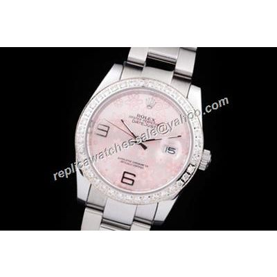 Rolex 116244 Datejust Pearlmaster Pink Floral Motif Ladies Silver Fake Watch