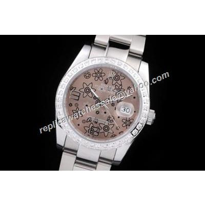 Rolex Pearlmaster Ladies 116200 Floral Motif pattern Brown Dial Watch
