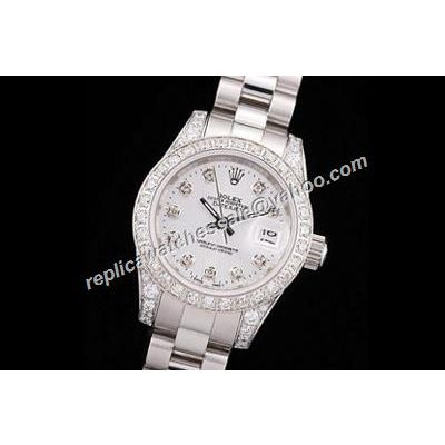 Rolex Ladies 81159 Datejust 34MM Paved Diamonds Pearlmaster White Dial Watch