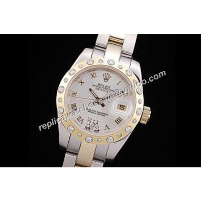 Ladies Datejust Pearlmaster Style Oyster White Face Diamond Gold Watch