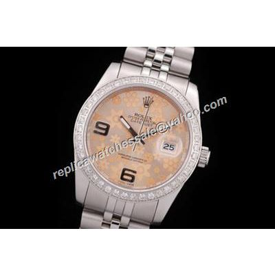 Rolex Datejust Pearlmaster Design Ladies Special Floral Motif Diamond Pink Gold Watch