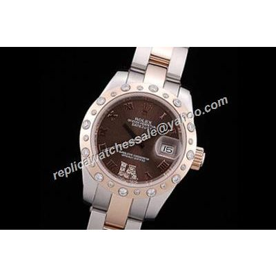Luxury Ladies Rolex Datejust Pearlmaster 178341 Brown Dial  Watch