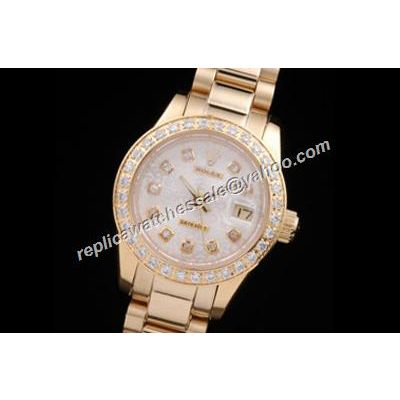 Rolex Oyster Preis Ladies Datejust Gold Diamond Bezel Pearlmaster White Watch Clone