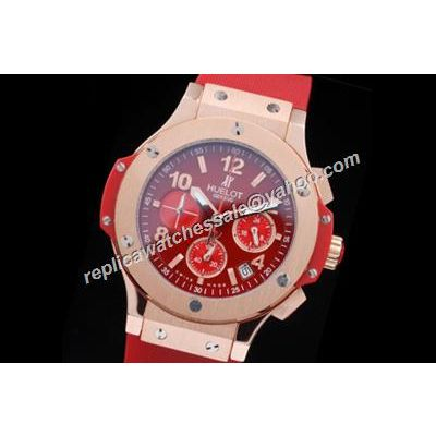 Hublot Big Bang Ladies Special Red Strap 24 Hours Chronograph Watch