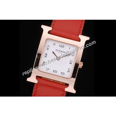 Hermes Heure H Ref W036811WW00 Rose Gold Fake Red Leather Quartz Watch