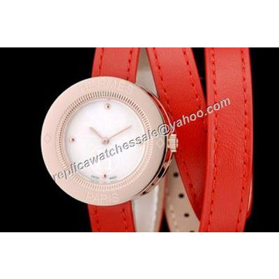 Hermes Passe Passe Lady PP1.210.212/G-VGE Rose Gold 32mm Red Leather Strap Watch
