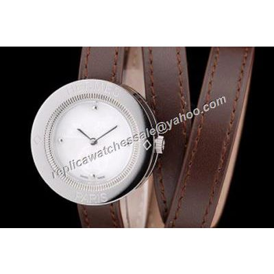 HERMES PP1.210 Passe Passe Carved pattern Women's Brown Leather Wristwatch Clone