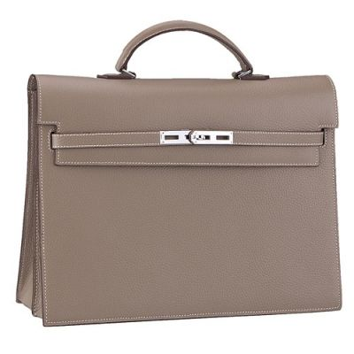 Hermes Kelly Grey Leather Ladies Flat Handle Flap Totes Briefcase Belt Strap With Silver Lock