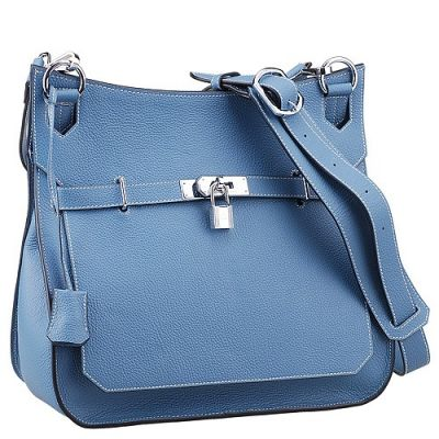 Fashion Blue Cowhide Leather Hermes Jypsiere Handbag Curved Wide Base Narrow Belt With Silver Lock