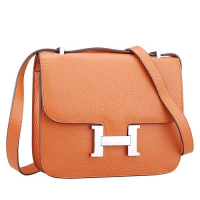 2017 New Orange Grained Leather Hermes Constance Silver H Buckle Womens Saddle Bag Flip-over Flap