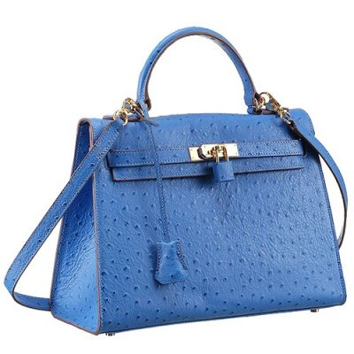 Hermes Kelly 32CM ladies Large Volume Blue Ostrich Leather Crossbody Bag Blue Lock Rounded Top Handle