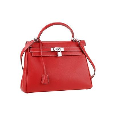 Silver Buckle & lock Hermes Kelly A-shaped Top Handle Wide Base Leather Shoulder Bag Leather Trimming