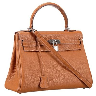 Small Hermes Kelly Leather Trimming Silver Clasp Brown Grained Leather Clone Tote Bag Online Shopping