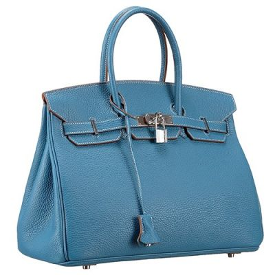 Women's Rounded Handle Hermes Birkin Baby Blue Belt Flap Leather Totes Silver Price List