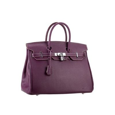 Street Style Purple Leather Hermes Birkin Top Handle Leather Trimming A-shaped Flap Tote For Womens