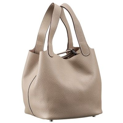 Hermes Picotin MM Taupe Ladies Leather MG Belt Handbag Wide Arm-carry Straps Silver Buckle
