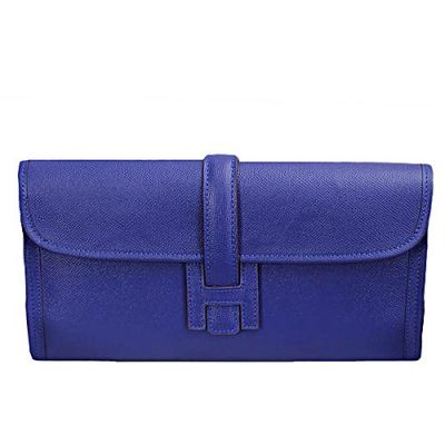 Good Reviews Long Hermes Jige Elan 29 Blue Leather Flap Clutch Narrow Belt H Logo Loop